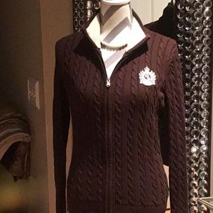 👜Ralph Lauren Chocolate Brown Full Zip Cardigan👜